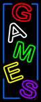 Vertical Games Blue Border Neon Sign