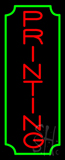 Vertical Red Printing Green Border Neon Sign