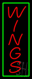 Vertical Wings with Green Border Neon Sign