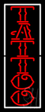 Vertical Red Tattoo White Border Neon Sign