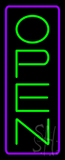 Open - Vertical Green Letters with Purple Border Neon Sign