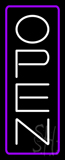 Open - Vertical White Letters with Purple Border Neon Sign