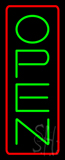 Open - Vertical Green Letters with Red Border Neon Sign