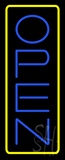 Open - Vertical Blue Letters with Yellow Border Neon Sign