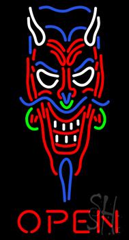 Devils Head Open Neon Sign