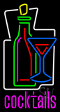 Cocktail Glass & Wine Bottle Cocktail Neon Sign