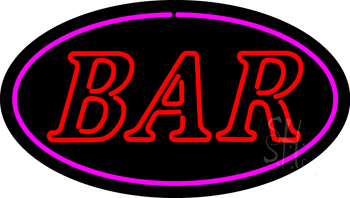 Bar Oval Pink Neon Sign