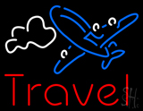 Red Travel Blue Aeroplane LED Neon Sign