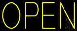 Open Horizontal No Border Yellow Neon Sign