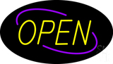 Open Deco Style Purple Border Yellow Letters Neon Sign