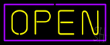 Open - Purple Border Yellow Letters Neon Sign