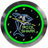 Pool Shark 15 Inch Neon Clock