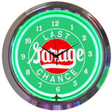 Last Chance Garage 15 Inch Neon Clock