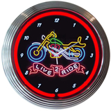 Live 2 Ride Motorcycle 15 Inch Neon Clock