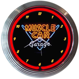 Muscle Car Garage 15 Inch Neon Clock