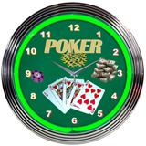 Poker 15 Inch Neon Clock
