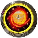 9 Ball Fire 15 Inch Neon Clock