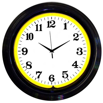 Black Rim Yellow Standard 15 Inch Neon Clock