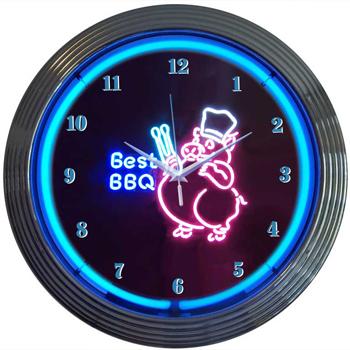 Bbq Pig 15 Inch Neon Clock