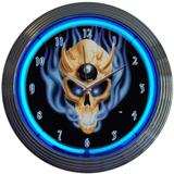 8 Ball Skull 15 Inch Neon Clock