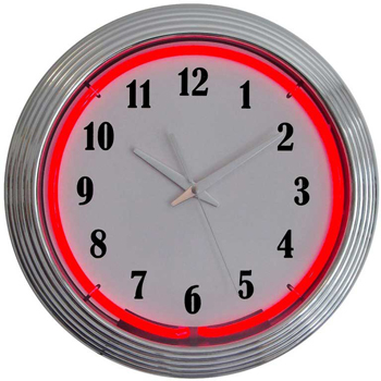 Chrome Red Standard 15 Inch Neon Clock
