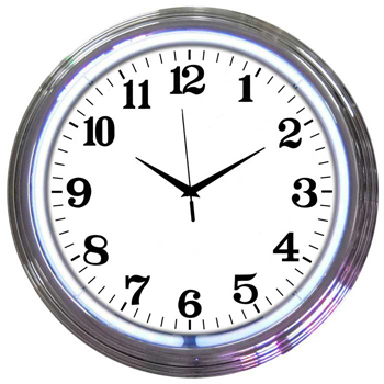 Chrome White Standard 15 Inch Neon Clock
