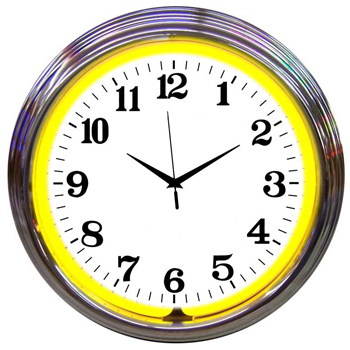 Chrome Yellow Standard 15 Inch Neon Clock