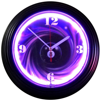 8 Ball swirl 15 Inch Neon Clock