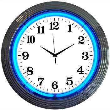 Chrome Blue 15 Inch Neon Clock