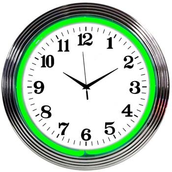 Chrome Green 15 Inch Neon Clock