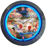 Pinball 15 Inch Neon Clock