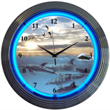 Dolphins At Sea 15 Inch Neon Clock