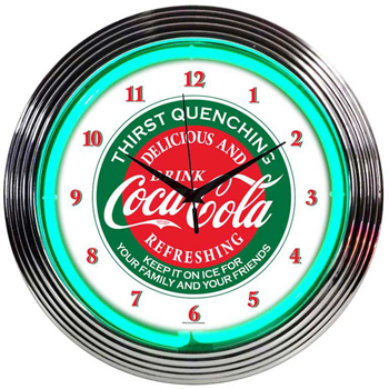 COCA-COLA EVERGREEN 15 Inch Neon Clock