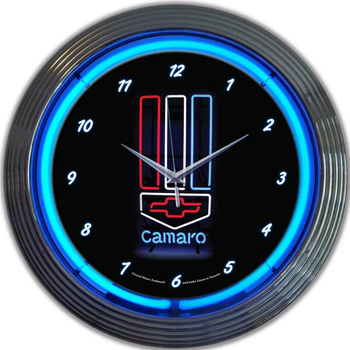 Gm Camaro Red White and Blue 15 Inch Neon Clock