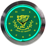 Irish Erin Go Bragh 15 Inch Neon Clock