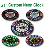21 Inch Custom Sign - Design Your Own Neon Clock Here