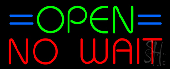 Open No Wait Neon Sign