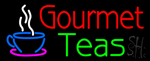 Gourmet Teas with Cup Logo Neon Sign