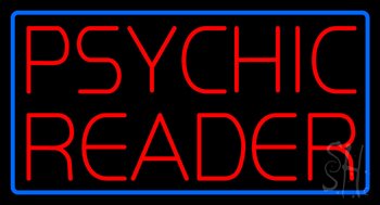 Red Psychic Reader Blue Border Neon Sign