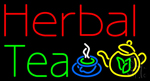 Red Herbal Tea Cup and Pot Logo Neon Sign