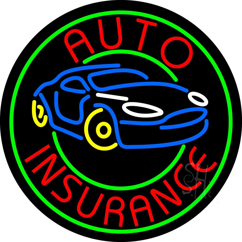 Round Auto Insurance Car Logo Neon Sign | Neon Stock Signs ...