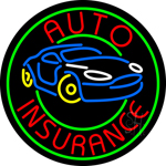 Round Auto Insurance Car Logo Neon Sign