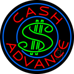 Round Cash Advance Dollar Logo Neon Sign