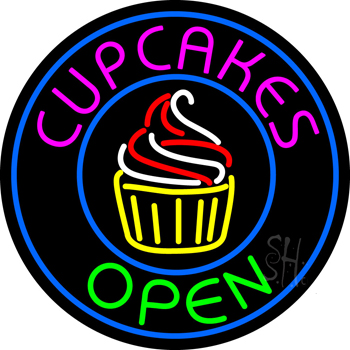 Cupcakes Open with Circle Neon Sign