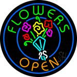 Flowers Open Neon Sign