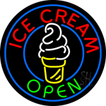 Round Ice Cream with Logo in Between Neon Sign