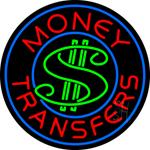 Round Money Transfers Dollar Logo Neon Sign