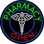 Round Pharmacy Open Neon Sign