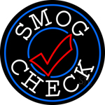 Smog Check Blue Round Neon Sign
