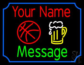 Custom Beer Glass And Basketball Neon Sign